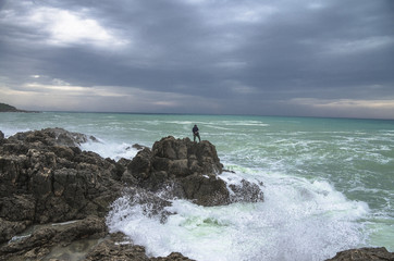 Extreme fishing. Panorama of sea shore. Greece