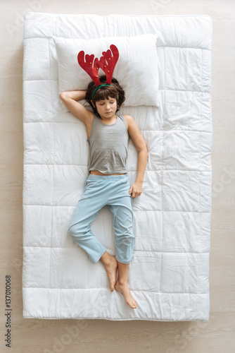 Cute funny boy feeling relaxed Poster