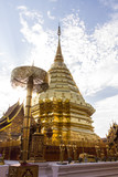 Wat Phra That Doi Suthep, Paogoda with sunlight in Chiangmai Thailand