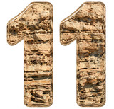 Numeral 11, eleven, isolated on white, natural limestone, 3d ill