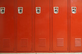 close up on red lockers in gym - 137025058