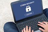 Cyber security on labtop screen background