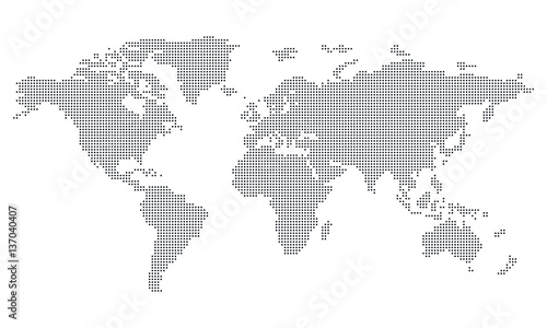Foto op Aluminium Wereldkaarten Pictogram - World map, Dots, Circle, medium - Object, Icon, Symbol