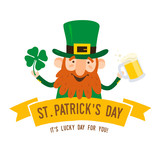 Saint Patricks Day. Funny Leprechaun with leaf clover and pint beer on a light background. Vector illustration.