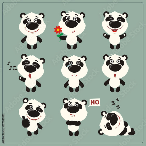 Fototapeta Funny little panda bear set in different poses. Collection isolated panda bear in cartoon style.