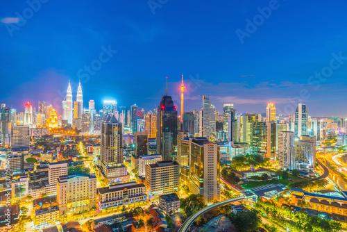 Poster Downtown Kuala Lumpur skyline at twilight
