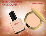 Glamorous compact foundation and nail lacquer on the  sparkling