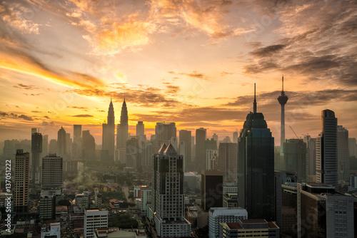 Downtown Kuala Lumpur skyline at twilight Poster