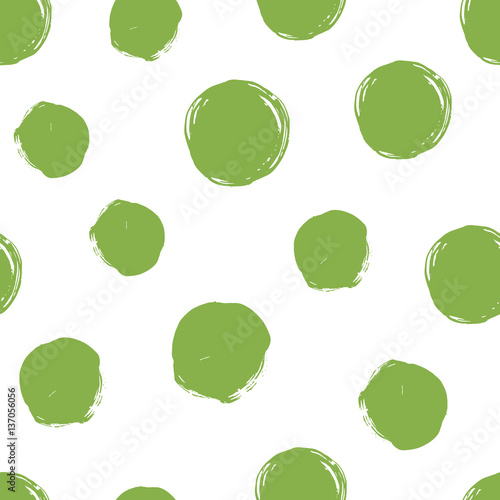 Seamless dot pattern. Hand painted circles. © Olga