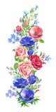 Floral vertical border, pink, red, blue flowers, bouquet of roses and poppy, green leaves on white background, digital draw, decorative illustration, vintage, vector