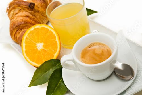 Poster Caffè espresso,succo d'arancia e croissant