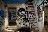abandoned run down graffiti house
