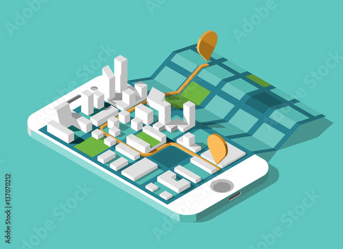 City isometric plan with road and buildings on screen smart phone. Map on mobile application. Vector illustration.