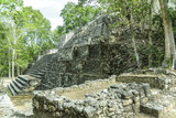 sight of the Mayan pyramid in ruins in the archaeological Balamku enclosure in the reservation of the biosphere of Calakmul, Campeche, Mexico