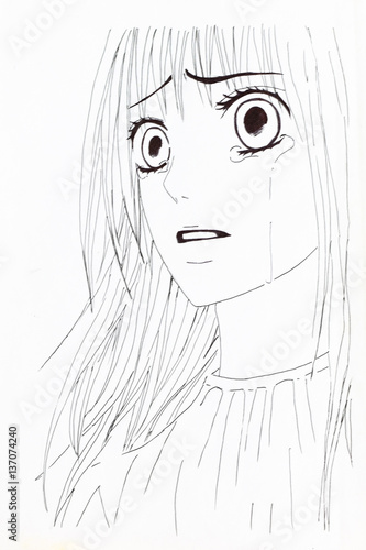 Drawing in the style of anime. Picture of a girl in the picture in the style of Japanese anime. - 137074240