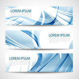 Abstract header blue wave smooth line white vector design