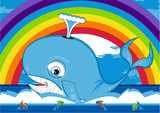 Cute Cartoon Whale and Tropical Fish