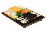 Roll sushi on a plate isolated on white background.