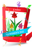 Womens Day greeting card  with paper red frame, tulips and confetti. Vector illustration