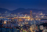Skyscraper of Seoul city skyline at night, South Korea