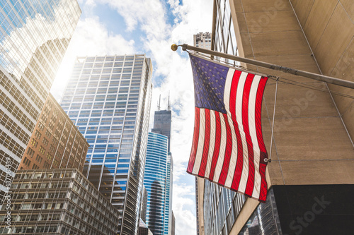 Poster Chicago USA flag in Chicago with with skyscrapers on background