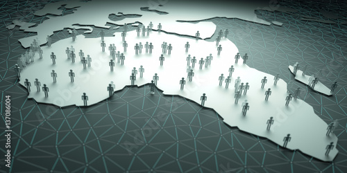 Africa Population. 3D illustration of people on the map, representing the country's demography.