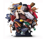 Big heap of different clothes and shoes - 137086422