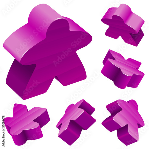 Vector Set Of Standard Wooden Meeples For Board Games Purple Gaming