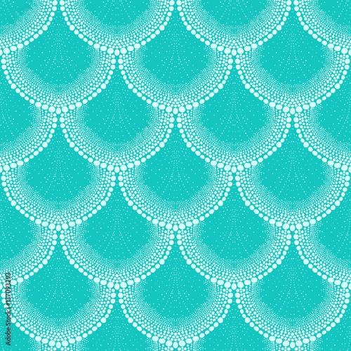 Fototapeta Pattern in art deco style tropical aqua blue