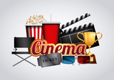 cinema and movie related icons over white background. colorful design. vector illustration