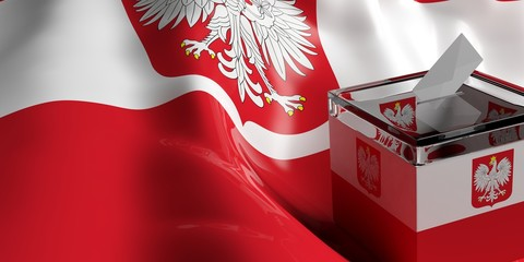 Ballot box on Poland flag background, 3d illustration