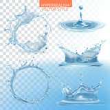 Water splashing with transparency vector set