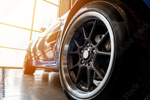 Back of a generic blue sport car - 137114092