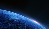 Global International Connectivity Background/Connection lines Around Earth Globe, Futuristic Technology  Theme Background with Light Effect.