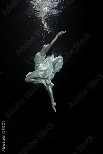 Young female ballet dancer dancing underwater Poster