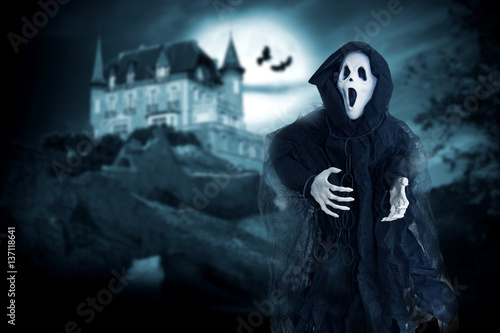 ghost of death on a mysterious background of halloween Poster