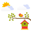 cartoon bird with birdhouse on a branch vector