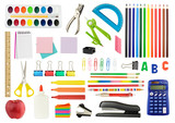 Collection of various school supplies, isolated on white background. - 137119608