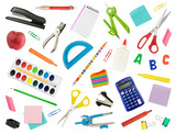Arrangement of various school supplies, isolated on white. Suitable for use as a back-to-school background. - 137120287