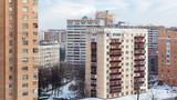 apartment buildings in winter