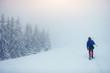 tourist in winter mountains. Beauty world. Carpathians Ukraine Europe