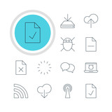 Vector Illustration Of 12 Web Icons. Editable Pack Of Wireless Network, Router, Checked Note And Other Elements.