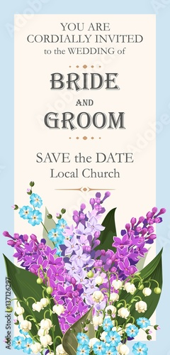 Wedding invitation with spring flowers