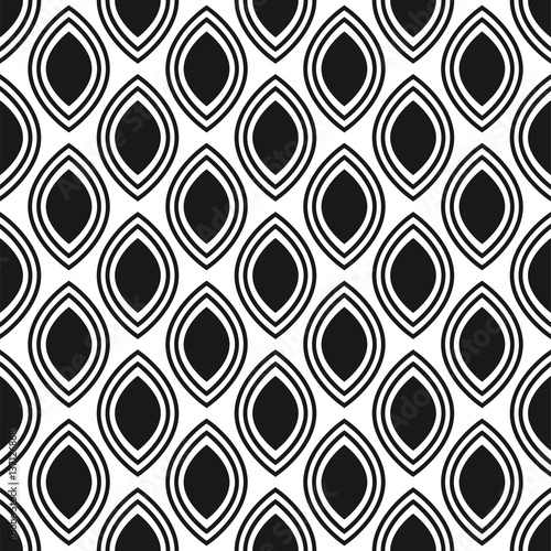 Black and white ornament seamless vector pattern. Monochrome geometric abstract repeat background. - 137126868