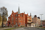 Old street in Slupsk. Pomeranian voivodeship. Poland