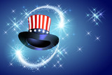American celebration Presidents day with cylinder hat