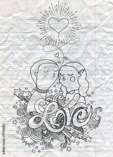 Doodle lovers, a boy and a girl composition with Love hand lettering and doodles elements sketch background.Vector illustration, in doodle style