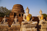 Buddha statues at the temple, Wat Yai Chai Mongkol in Ayutthaya, Thailand