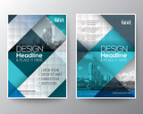 Blue and teal Brochure annual report cover Flyer Poster design Layout template