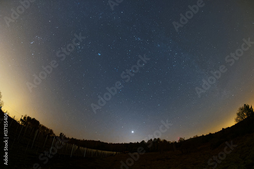 Astro landscape with the Milky Way and the bright Venus as seen from the Palatinate Forest in Germany Poster